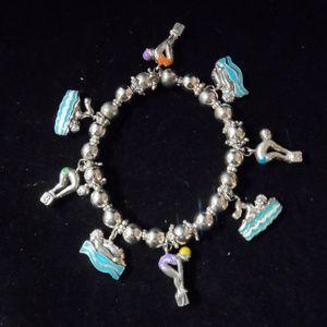 Jewelry - Stretch Charm Bracelet Swimming Divers Enamel